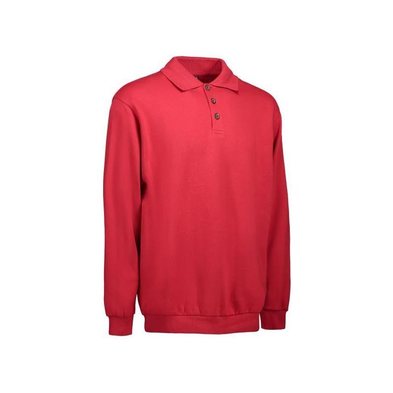 Klassisches Herren Polo-Sweatshirt 601 von ID / Farbe: rot / 70% BAUMWOLLE 30% POLYESTER -   MEIN-KASACK.de   kasack   k