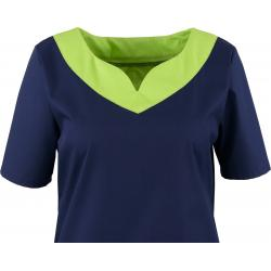 Kasack 2436 von BEB / Farbe: marine-limette-apple / Stretchgewebe - 49% Baumwolle 48% Polyester 3% Elastolefin - | Wenn