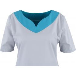 Damen -  Kasack 2436 von BEB / Farbe: hellgrau-dunkeltürkis / Stretchgewebe - 49% Baumwolle 48% Polyester 3% Elastolefin