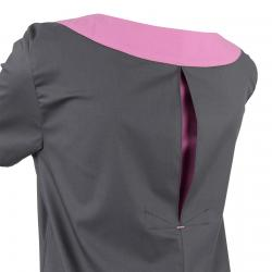 Damen -  Kasack 2436 von BEB / Farbe: dunkelgrau-lila-lagune / Stretchgewebe - 49% Baumwolle 48% Polyester 3% Elastolefi