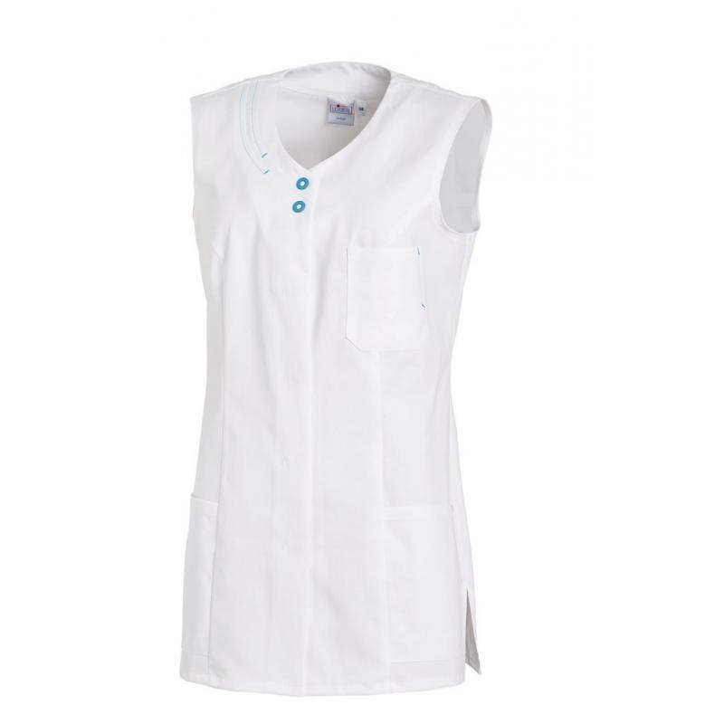 Kasack 2758 von LEIBER / Farbe: weiß/türkis / 65 % Polyester 35 % Baumwolle -   MEIN-KASACK.de