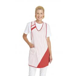 Überwurfschürze 738 von LEIBER / Farbe: weiß-rot / 65 % Polyester 35 % Baumwolle - | Wenn Kasack - Dann MEIN-KASACK.de |