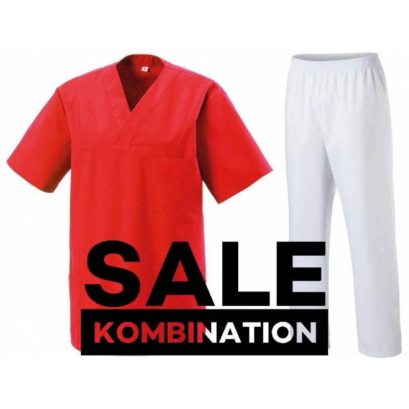 SALE - KOMBINATION AUS KASACK 273 UND SCHLUPFHOSE 330 VON EXNER / FARBE: ROT - WEIS