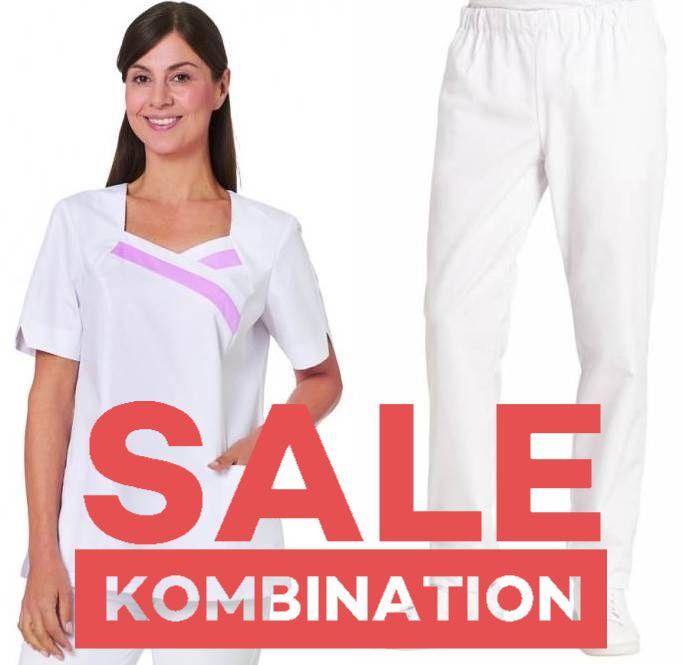SALE - KOMBINATION AUS KASACK 2656 UND SCHLUPFHOSE 6950 VON LEIBER / FARBE: WEISS-LAVENDEL