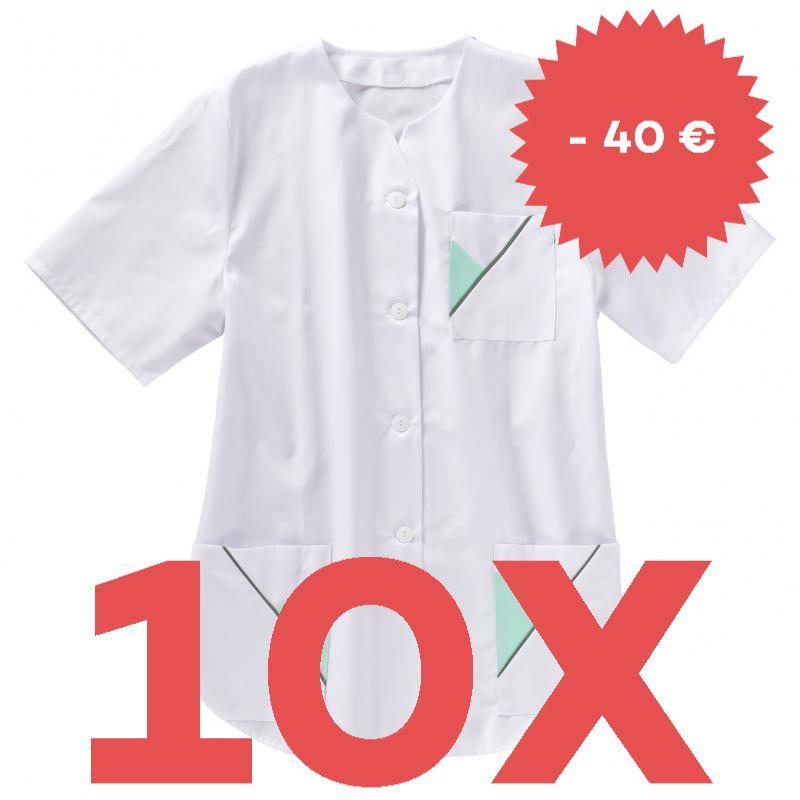 SPARSET: 10X DAMEN - KASACK 319 VON BEB / FARBE: WEISS/MINT/GRÜN