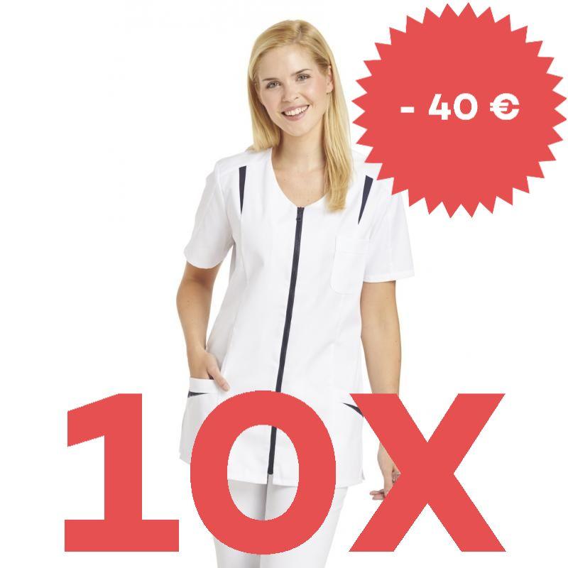 SPARSET: 10X DAMEN - HOSENKASACK 2533 VON LEIBER / FARBE: WEISS-MARIN