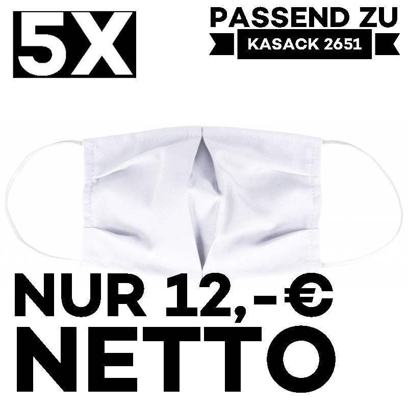 """5 STÜCK / MUND UND NASENMASKE """"COVID"""" / KOCHFEST / WIEDERVERWENDBAR / WEISS - PASSEND ZU KASACK 2651"""