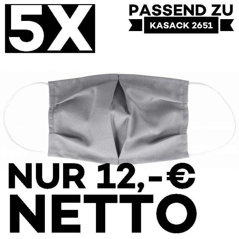 """5 STÜCK / MUND UND NASENMASKE """"COVID"""" / KOCHFEST / WIEDERVERWENDBAR / GRAU - PASSEND ZU KASACK 2651"""