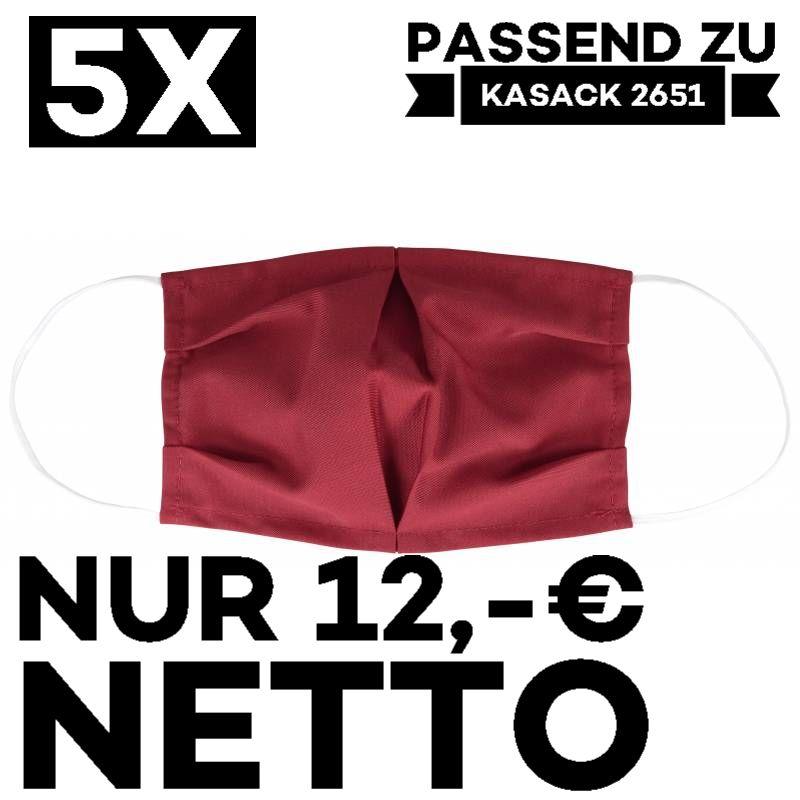 """5 STÜCK / MUND UND NASENMASKE """"COVID"""" / KOCHFEST / WIEDERVERWENDBAR / WEINROT - PASSEND ZU KASACK 2651"""