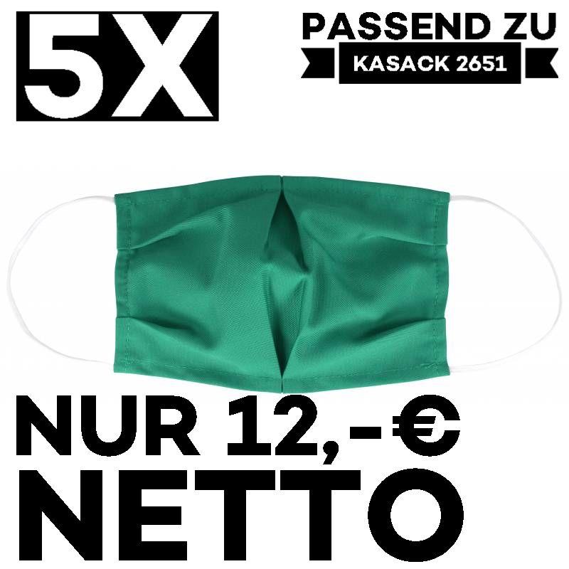 """5 STÜCK / MUND UND NASENMASKE """"COVID"""" / KOCHFEST / WIEDERVERWENDBAR / GRÜN - PASSEND ZU KASACK 2651"""