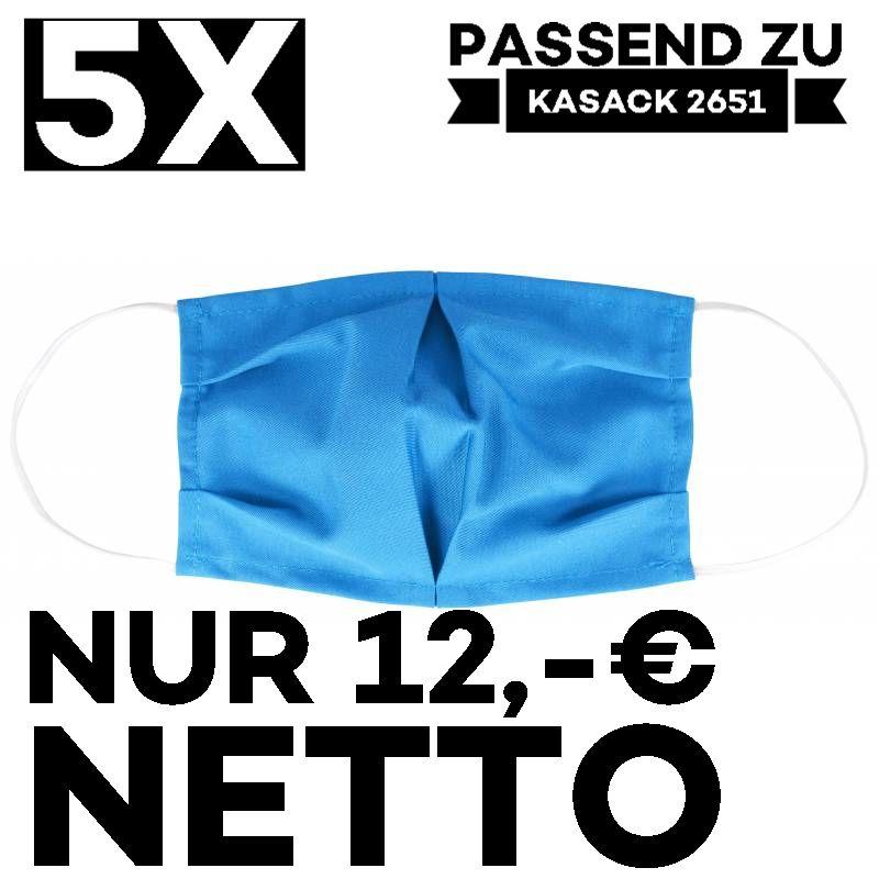"""5 STÜCK / MUND UND NASENMASKE """"COVID"""" / KOCHFEST / WIEDERVERWENDBAR / AZUR - PASSEND ZU KASACK 2651"""