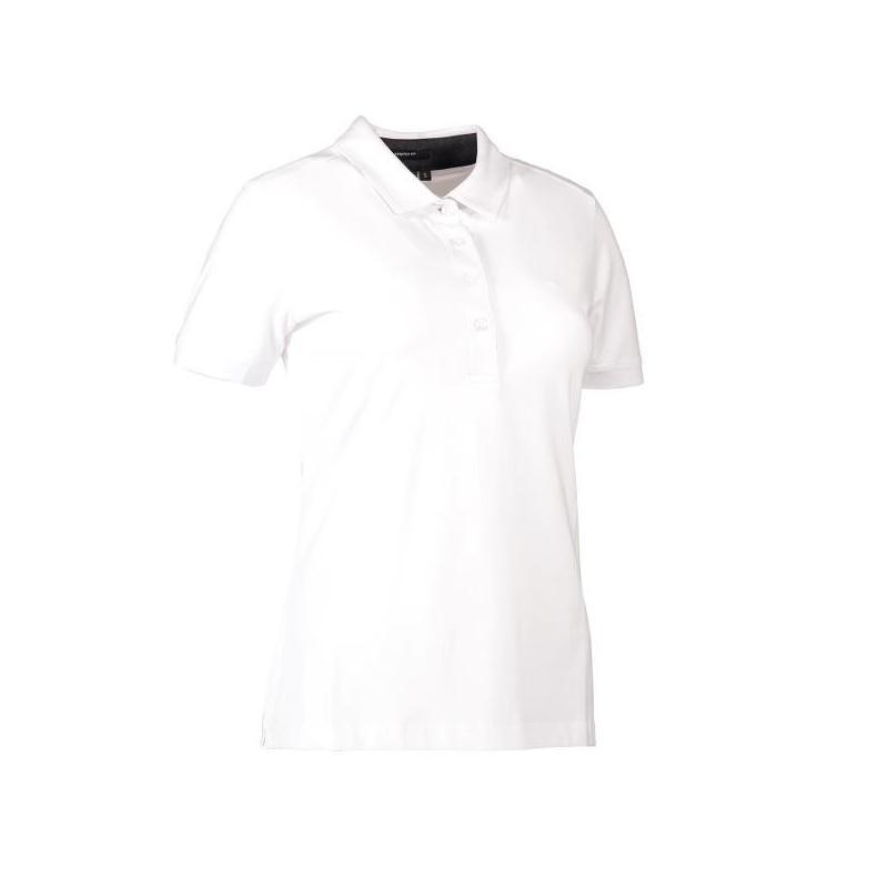 Heute im Angebot: Business Damen Poloshirt | Stretch 535 von ID / Farbe: weiß / 95% BAUMWOLLE 5% ELASTANE