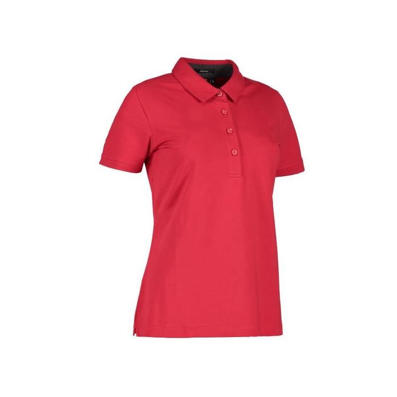 Heute im Angebot: Business Damen Poloshirt | Stretch 535 von ID / Farbe: rot / 95% BAUMWOLLE 5% ELASTANE