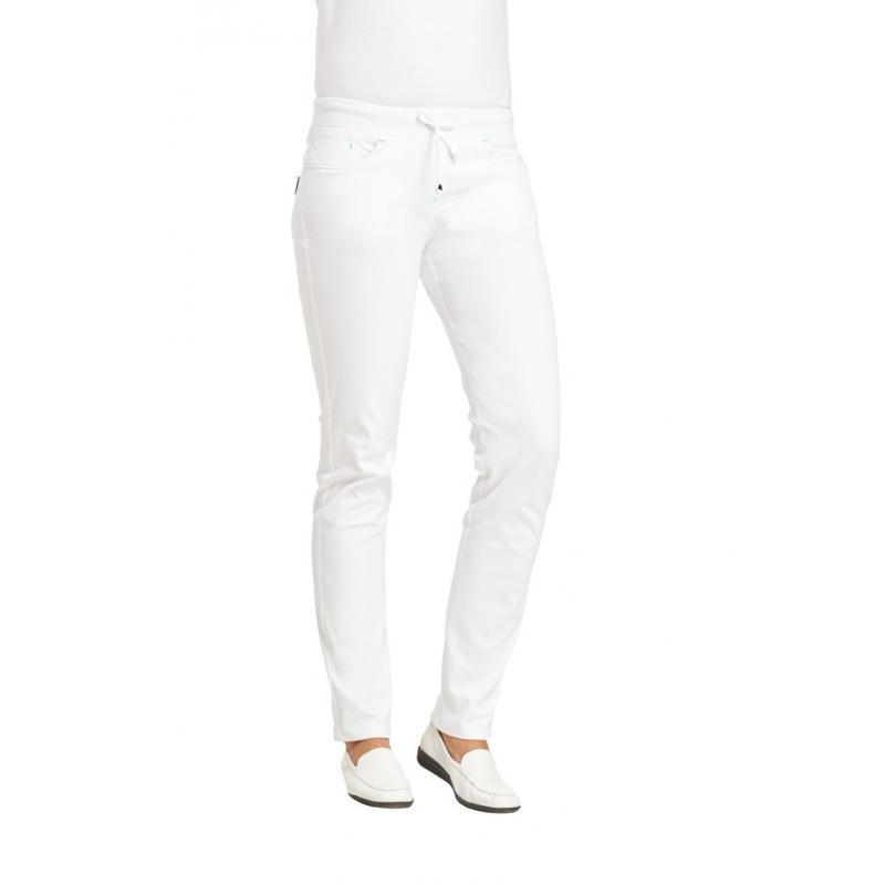 Heute im Angebot: Damenhose 7100 von LEIBER / Farbe: weiß-türkis / 72% Baumwolle 23% Polyamid 5% Elastolefin jetzt günstig kaufen