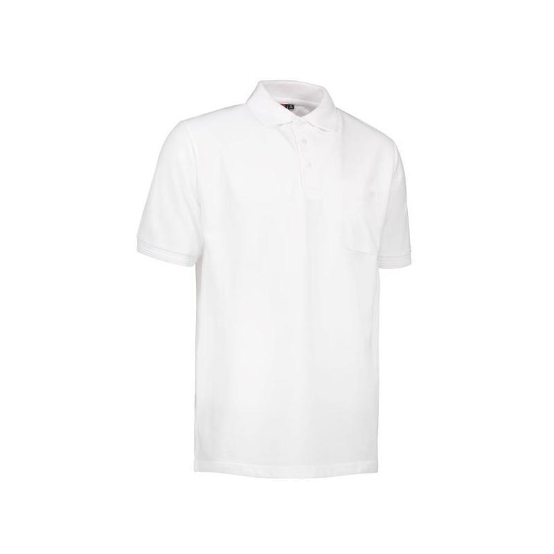 Heute im Angebot: PRO Wear Herren Poloshirt 320 von ID / Farbe: weiß / 50% BAUMWOLLE 50% POLYESTER