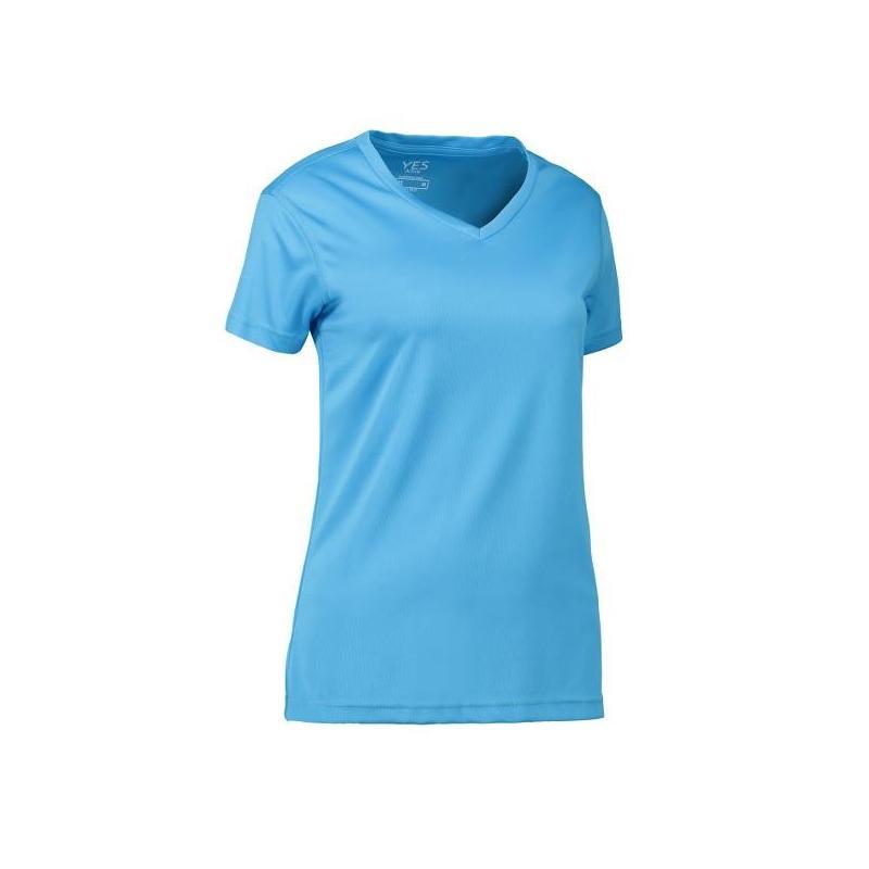 Heute im Angebot: YES Active Damen T-Shirt 2032 von ID / Farbe: cyan / 100% POLYESTER