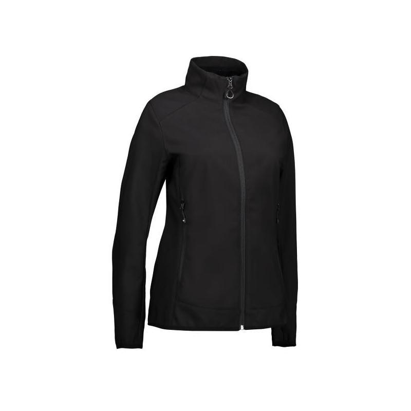 Heute im Angebot: Funktionelle Soft Shell Damenjacke 856 von ID / Farbe: schwarz / 100% POLYESTER