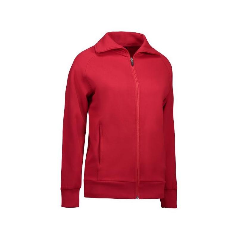 Heute im Angebot: Damen Sweatshirtjacke 624 von ID / Farbe: rot / 60% BAUMWOLLE 40% POLYESTER jetzt günstig kaufen