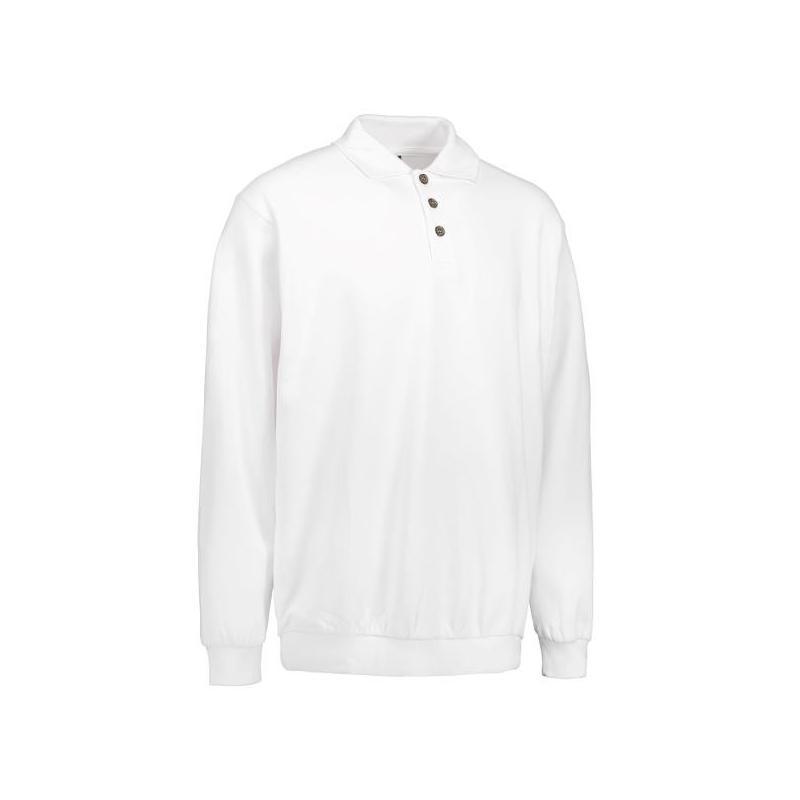 Heute im Angebot: Klassisches Herren Polo-Sweatshirt 601 von ID / Farbe: weiß / 70% BAUMWOLLE 30% POLYESTER