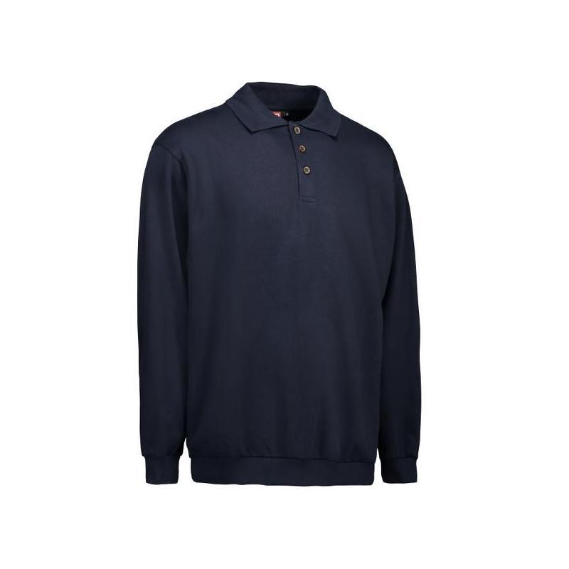 Heute im Angebot: Klassisches Herren Polo-Sweatshirt 601 von ID / Farbe: navy / 70% BAUMWOLLE 30% POLYESTER