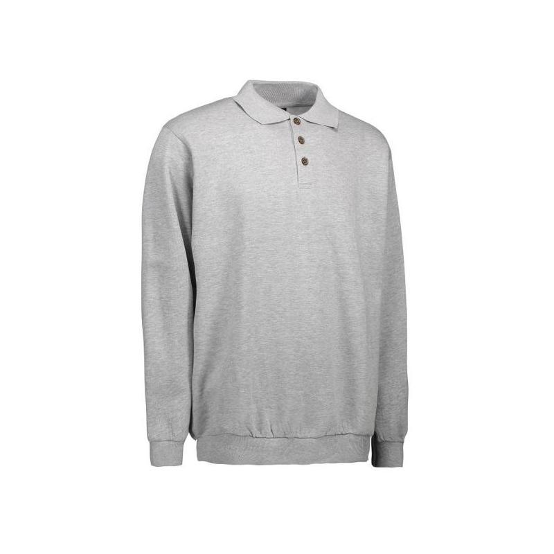 Heute im Angebot: Klassisches Herren Polo-Sweatshirt 601 von ID / Farbe: hellgau / 70% BAUMWOLLE 30% POLYESTER jetzt günstig kaufen