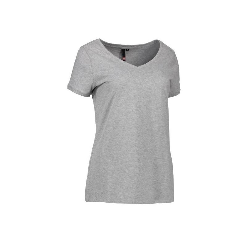 Heute im Angebot: CORE V-Neck Tee Damen T-Shirt 543 von ID / Farbe: grau / 100% BAUMWOLLE jetzt günstig kaufen