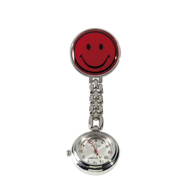 Heute im Angebot: Ansteckuhr 2545 von LEIBER / Farbe: rot / mit Kette und Clip
